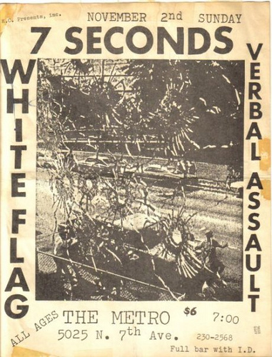 7 Seconds, White Flag, Verbal Assault at The Metro. Nov 2nd 1986
