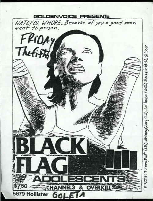 Black Flag, Adolescents, CH3 & Overkill at Goleta. Friday 5th 1982. Art by Raymond Pettibon (Alternate Flyer)