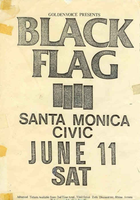 Black Flag at The Santa Monica Civic. June 11th.