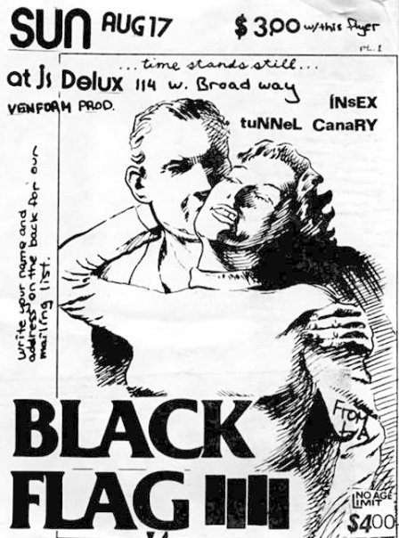 Black Flag, Insex & Tunnel Canary at Js Delux. Aug 17th 1980. (Alt. Flyer)