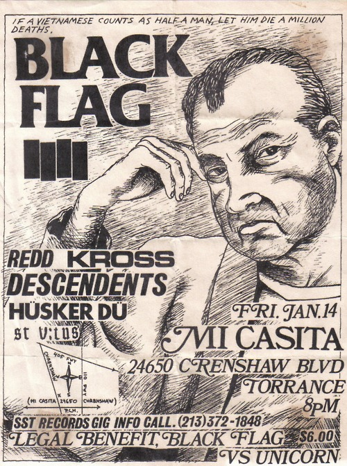 Black Flag, Redd Kross, Descendents, Husker Du and St. Vitus @ Mi Casita, 1983.