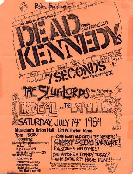Dead Kennedys, 7 Seconds No Deal at Musician's Union Hall. July 14th 1984.
