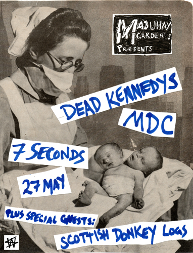 Dead Kennedys, MDC, 7 Seconds & Scottish Donkey Logs at Mabuhay Gardens. May 27th 1984. Original art by Winston Smith