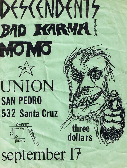 Descendents, Bad Karma, Momo, @ Klub Union. 1982