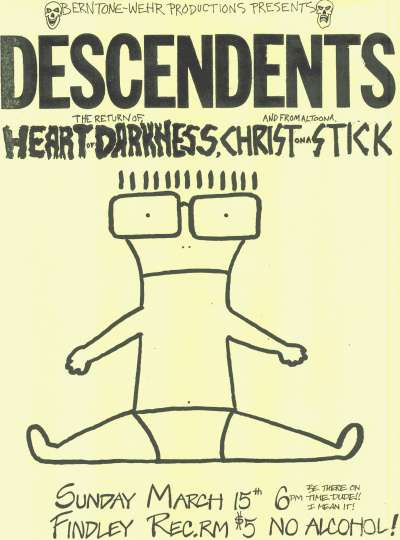Descendents, Heart of Darkness, Christ on a Stick @ Findley Rec. Room. 1987