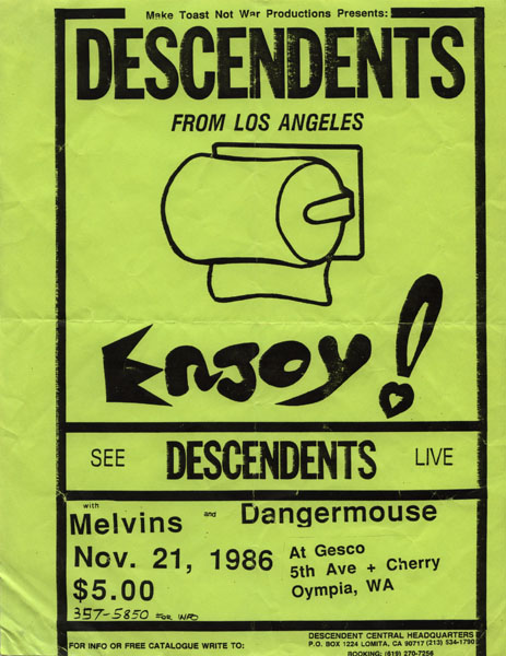 Descendents, Melvins and Dangermouse at Gesco. 1986