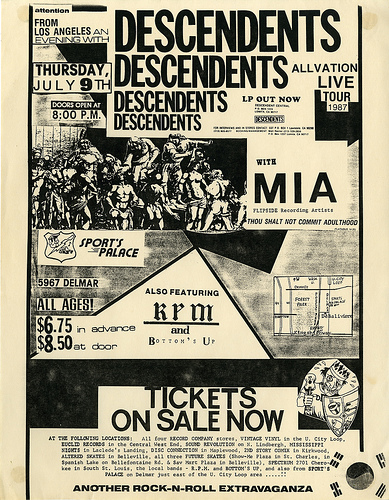 Descendents, MIA, RPM and Bottom's Up at Sport's Palace July 9th 1987