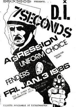 D.I. 7Seconds, Agression & Uniform Choice at Fenders. Jan 3rd 1986.