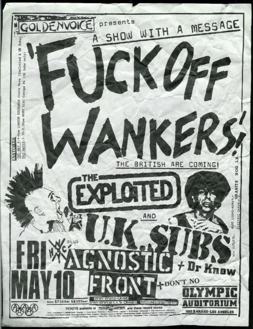 Exploited, U.K. Subs, Agnostic Front at The Olympic Auditorium. Fri May 10th