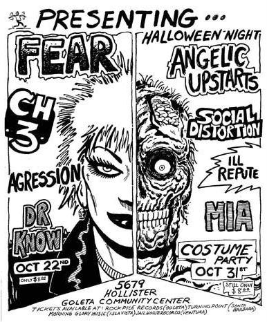 FEAR, CH3, Dr. KNOW, Social D. Ill Repute & MIA at Goleta. Oct 22 & 31. Art by Jaime Hernandez.