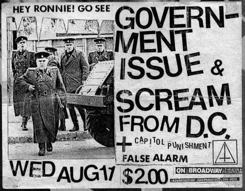Government Issue, Scream, Capitol Punishment, False Alarm on Broadway. Wed Aug 11th