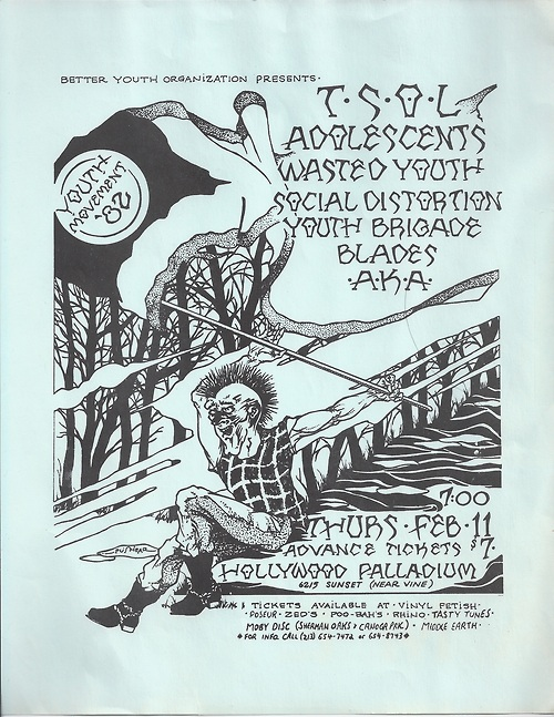 "mainthreat: "" TSOL / adolescents / wasted youth / social distortion - flyer - 1982 """