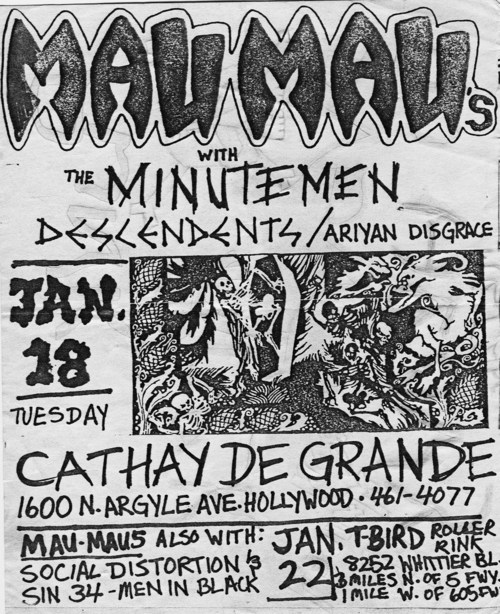Mau Maus, Minutemen, Descendents & Aryan Disgrace at Cathay de Grand. 1983