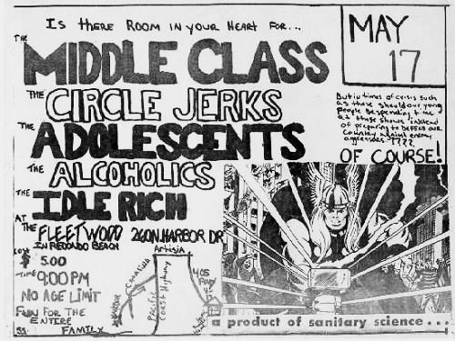 Middle Class, Circle Jerks, The Adolescents, The Alcoholics, Idle Rich @ The Fleetwood. 1980