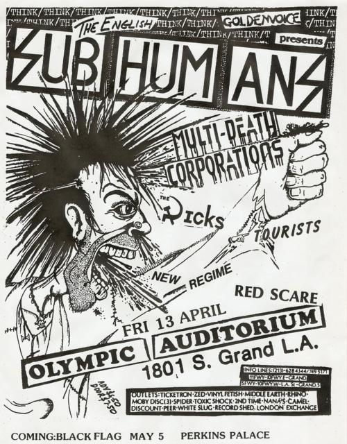 Subhumans, MDC, Dicks, Tourists, New Regime & Red Scare @ Olympic Auditorium. 1984