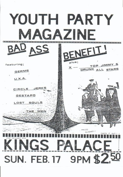 The Germs, UXA, Circle Jerks, Gestapo & Lost Souls @ Kings Palace. Feb 17th 1980.