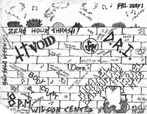 Zero Hour Trash, Void, DRI, Media Disease, Dove & Body Count @ Wilson Center. 1983
